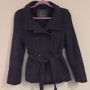 Chic grey wool blend pea coat checkered plaid